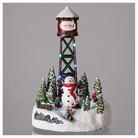 Water tower for Christmas village with snowman 35x20 cm s2
