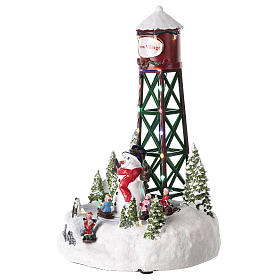 Water tower for Christmas village with snowman 35x20 cm s3
