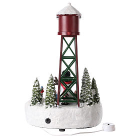 Water tower for Christmas village with snowman 35x20 cm s5