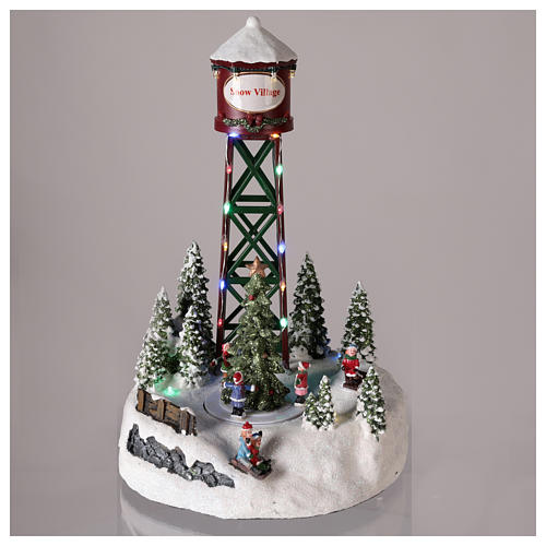 Aqueduct for Christmas village with ice rink and Christmas tree 35x20 2
