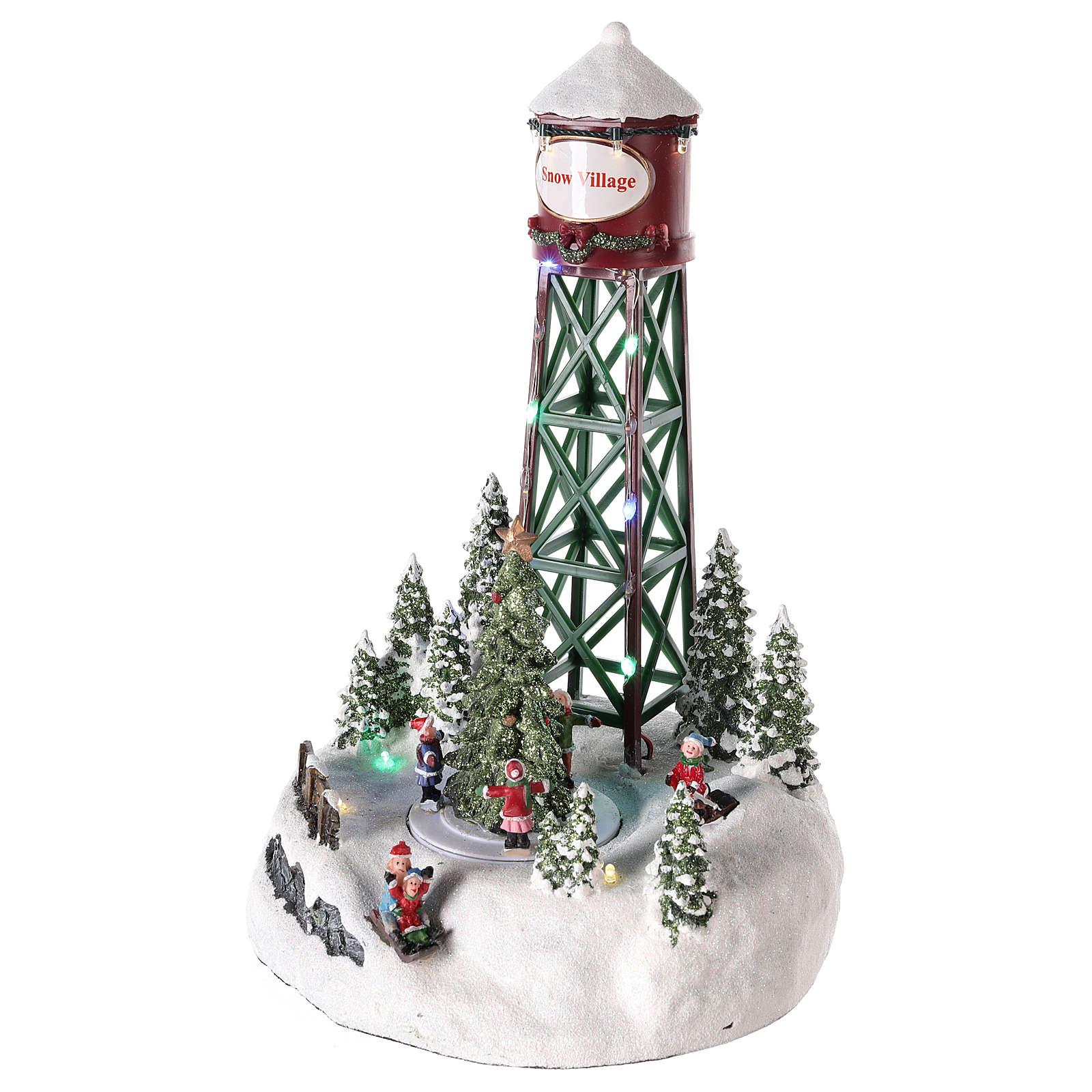 Acueducto para pueblo navideño con pista y árbol de Navidad 35x20 3