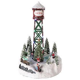 Pueblos navideños en miniatura: Acueducto para pueblo navideño con pista y árbol de Navidad 35x20