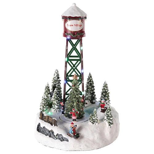Acueducto para pueblo navideño con pista y árbol de Navidad 35x20 1