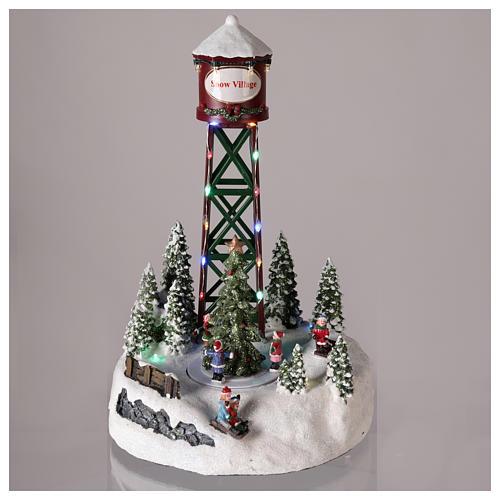 Acueducto para pueblo navideño con pista y árbol de Navidad 35x20 2