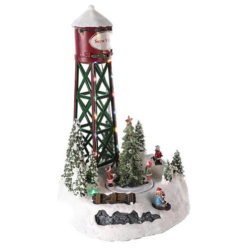 Acueducto para pueblo navideño con pista y árbol de Navidad 35x20 4