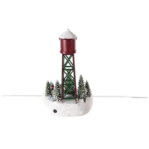 Acueducto para pueblo navideño con pista y árbol de Navidad 35x20 5