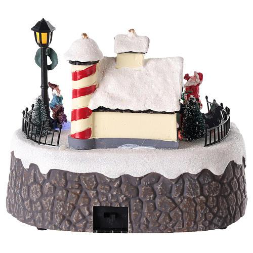 Casa de Papá Noel con elfos para pueblo 15x20 cm 5