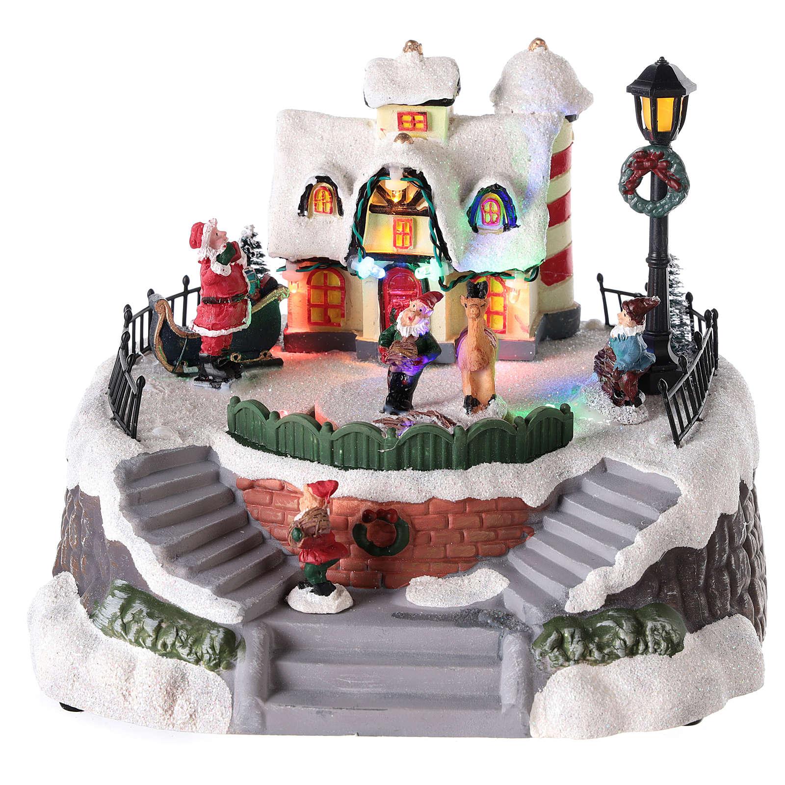 Maison de Père Noël avec elfe pour village 15x20 cm 3