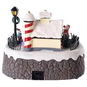 Casa di Babbo Natale con elfi per villaggio 15x20 cm s5