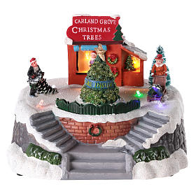 Villages de Noël miniatures: Magasin de sapins de Noël pour village de Noël 15x20 cm