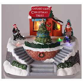 Magasin de sapins de Noël pour village de Noël 15x20 cm s2