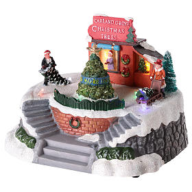 Magasin de sapins de Noël pour village de Noël 15x20 cm s3