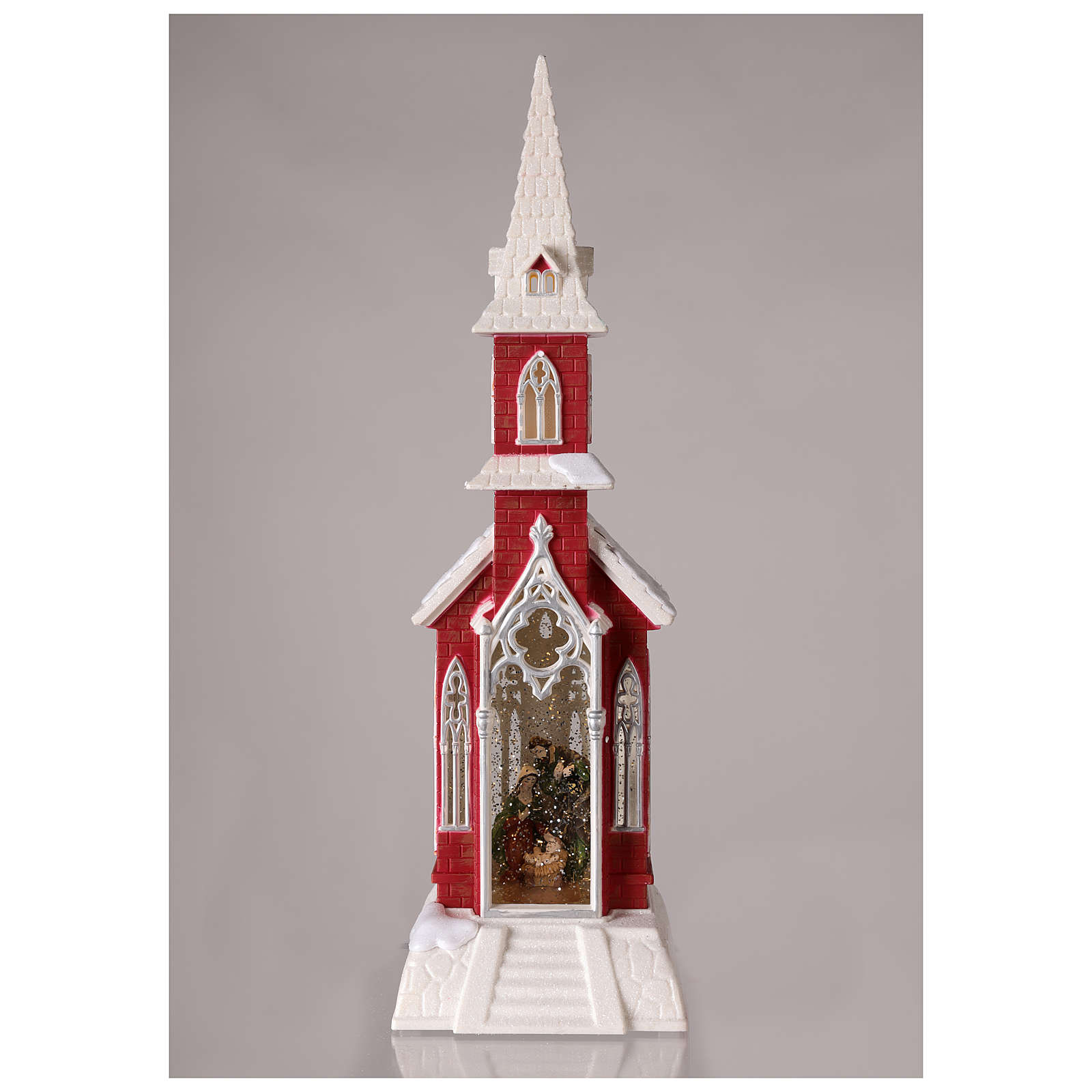 Bola de nieve en forma de iglesia con natividad 50x15x15 3