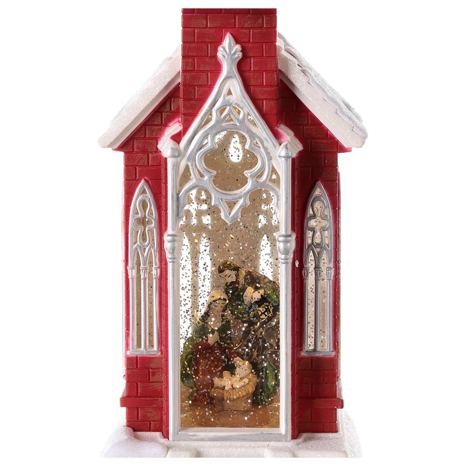 Palla di neve a forma di chiesa con natività 50x15x15 3