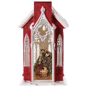 Palla di neve a forma di chiesa con natività 50x15x15 s3