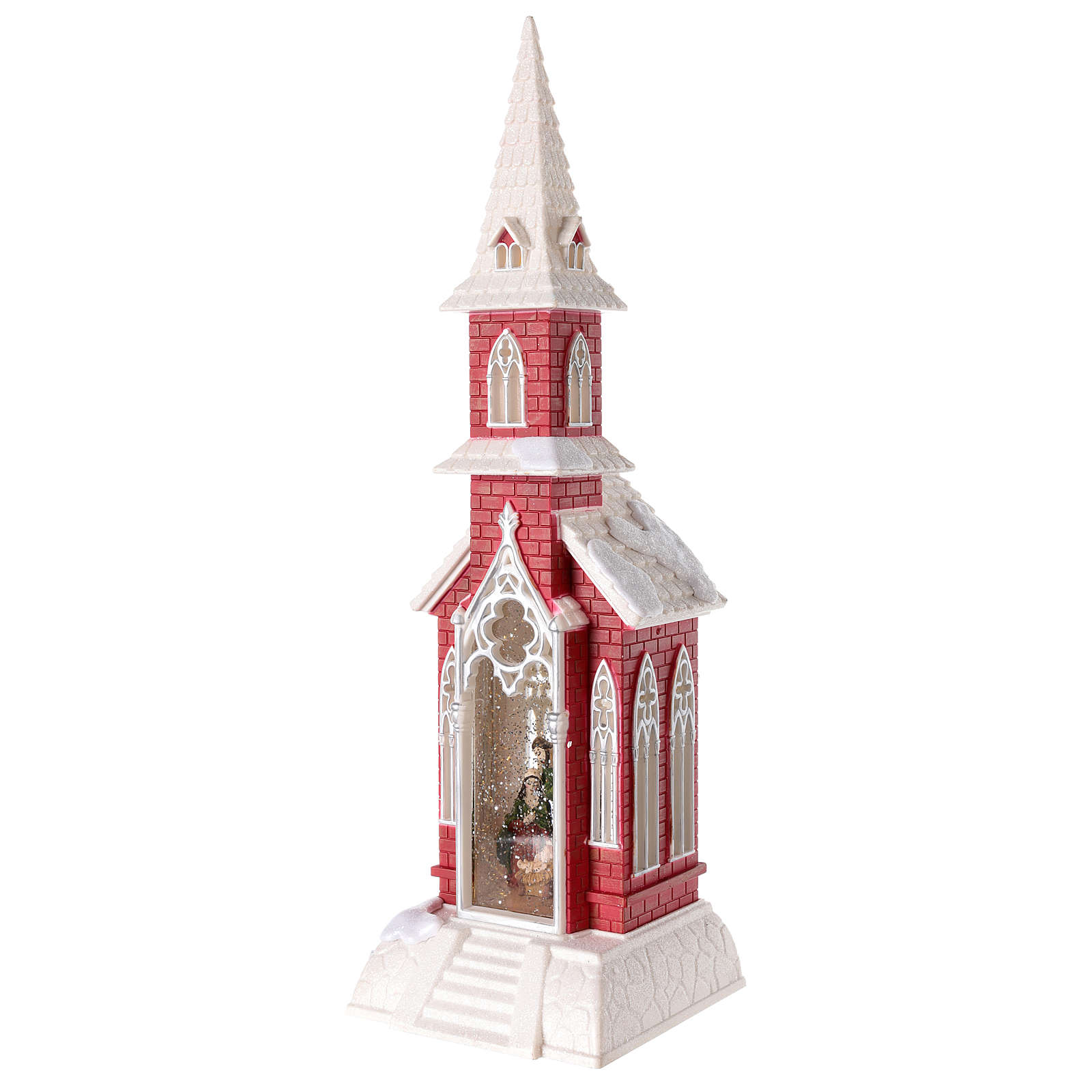 Globo de neve em forma de igreja com natividade 50x15x15 cm 3