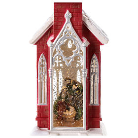 Globo de neve em forma de igreja com natividade 50x15x15 cm s3