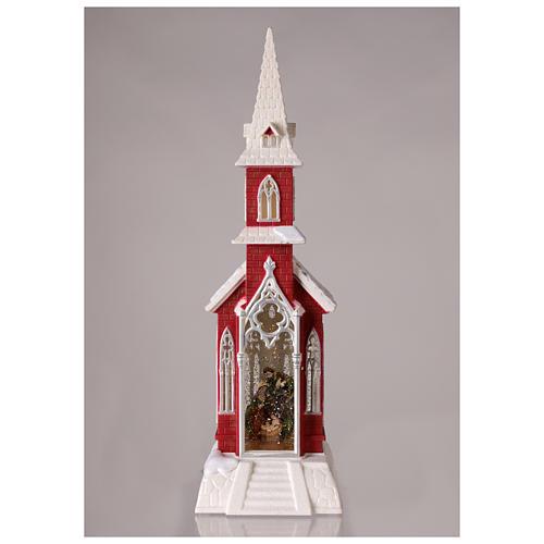 Globo de neve em forma de igreja com natividade 50x15x15 cm 2