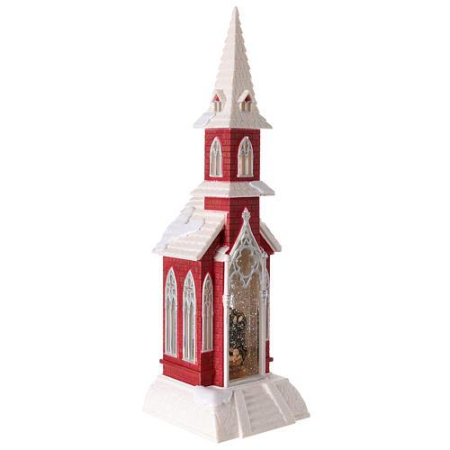 Globo de neve em forma de igreja com natividade 50x15x15 cm 5