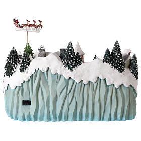 Village avec traîneau de Père Noël en mouvement 40x55x30 cm s5