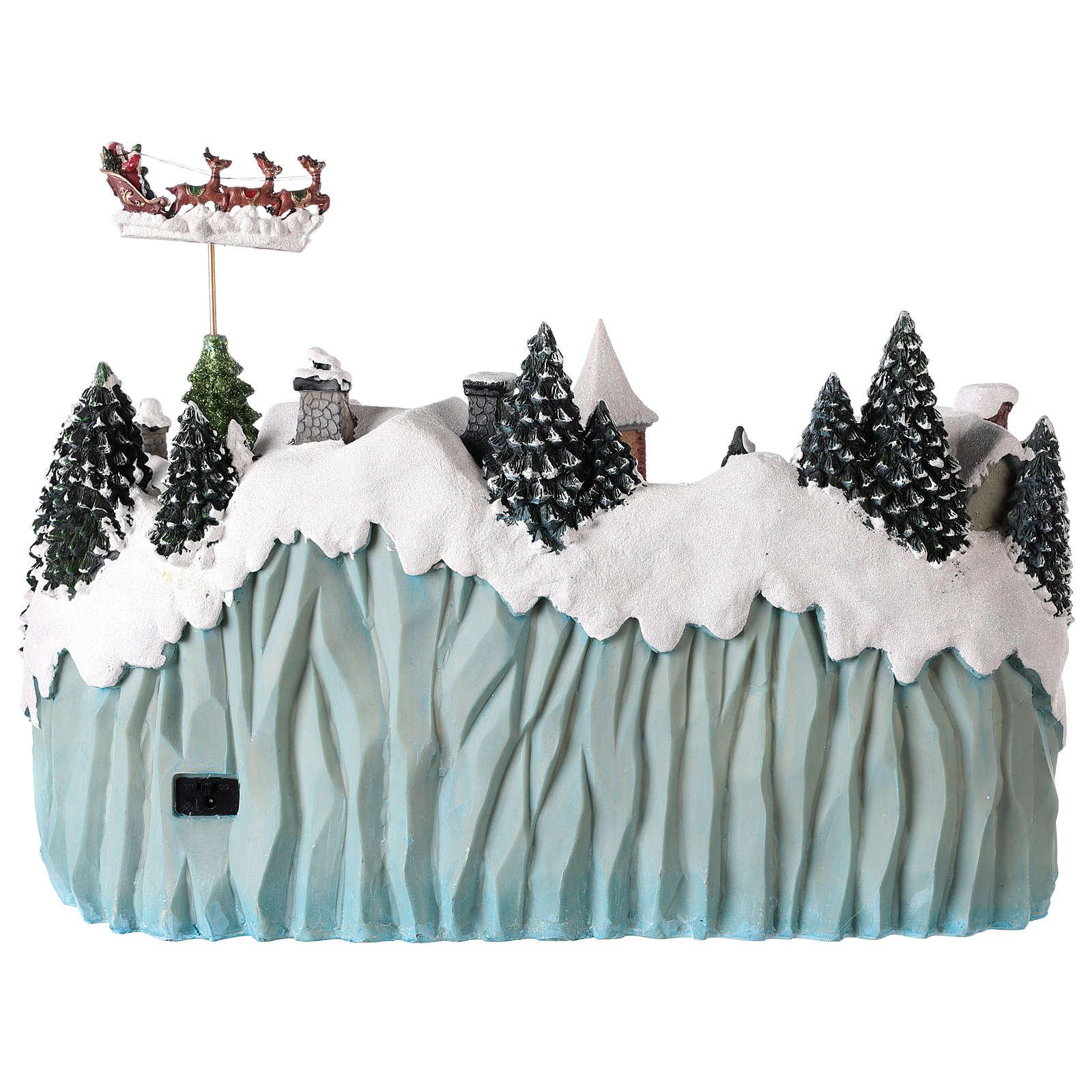 Villaggio con slitta di Babbo Natale in movimento 40x55x30 cm 3