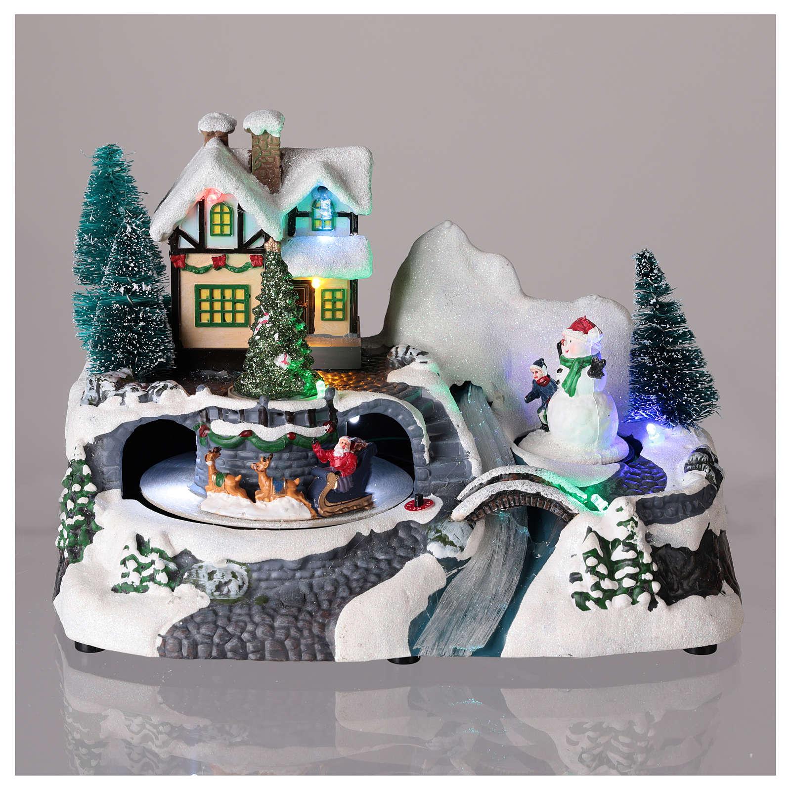 Village avec Père Noël sur traîneau en mouvement 20x25x15 cm 3
