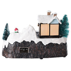 Village avec Père Noël sur traîneau en mouvement 20x25x15 cm s5