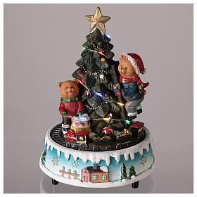 Árbol de Navidad con oso y otros juguetes 15x20 cm s2