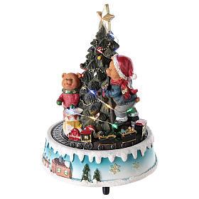 Árbol de Navidad con oso y otros juguetes 15x20 cm s3