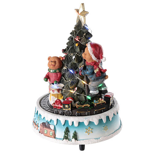 Árbol de Navidad con oso y otros juguetes 15x20 cm 3