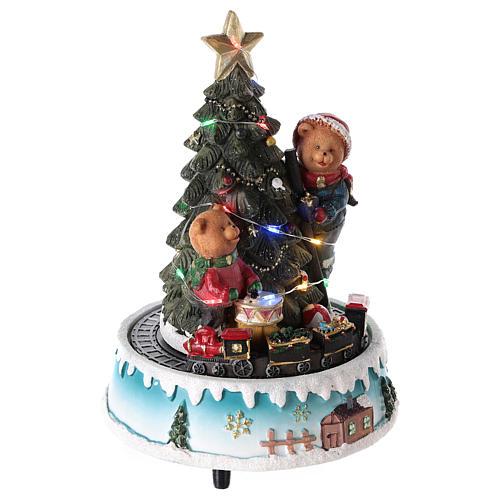 Árbol de Navidad con oso y otros juguetes 15x20 cm 4