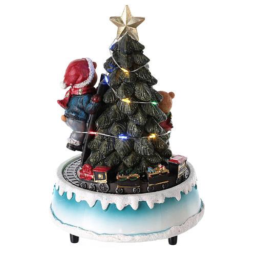 Árbol de Navidad con oso y otros juguetes 15x20 cm 5