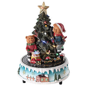 Cenários Natalinos em Miniatura: Árvore de Natal com urso e jogos 15x20 cm