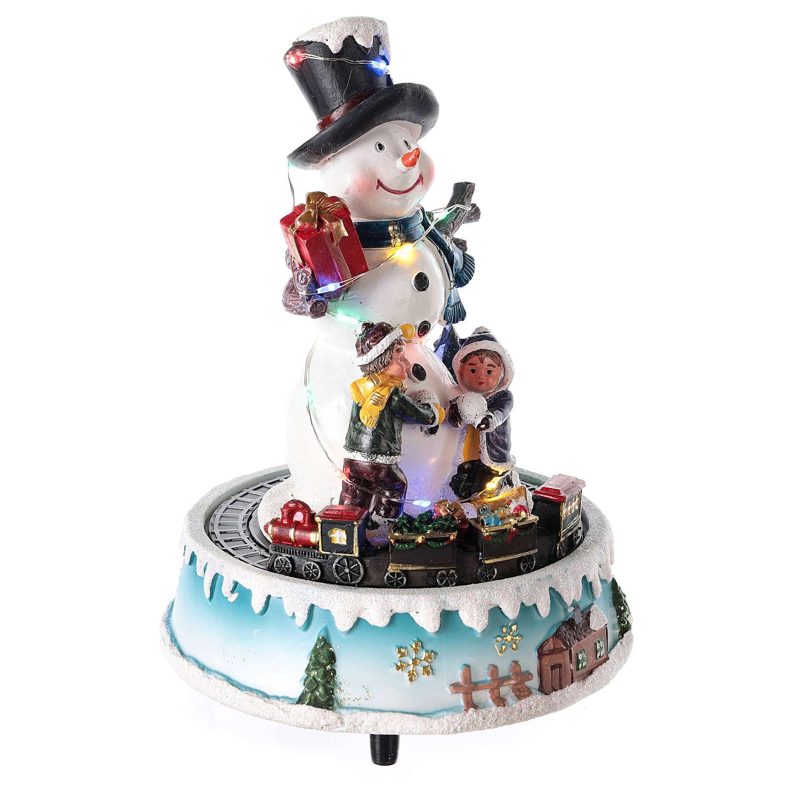 Pupazzo di neve con doni 15x20 cm 3