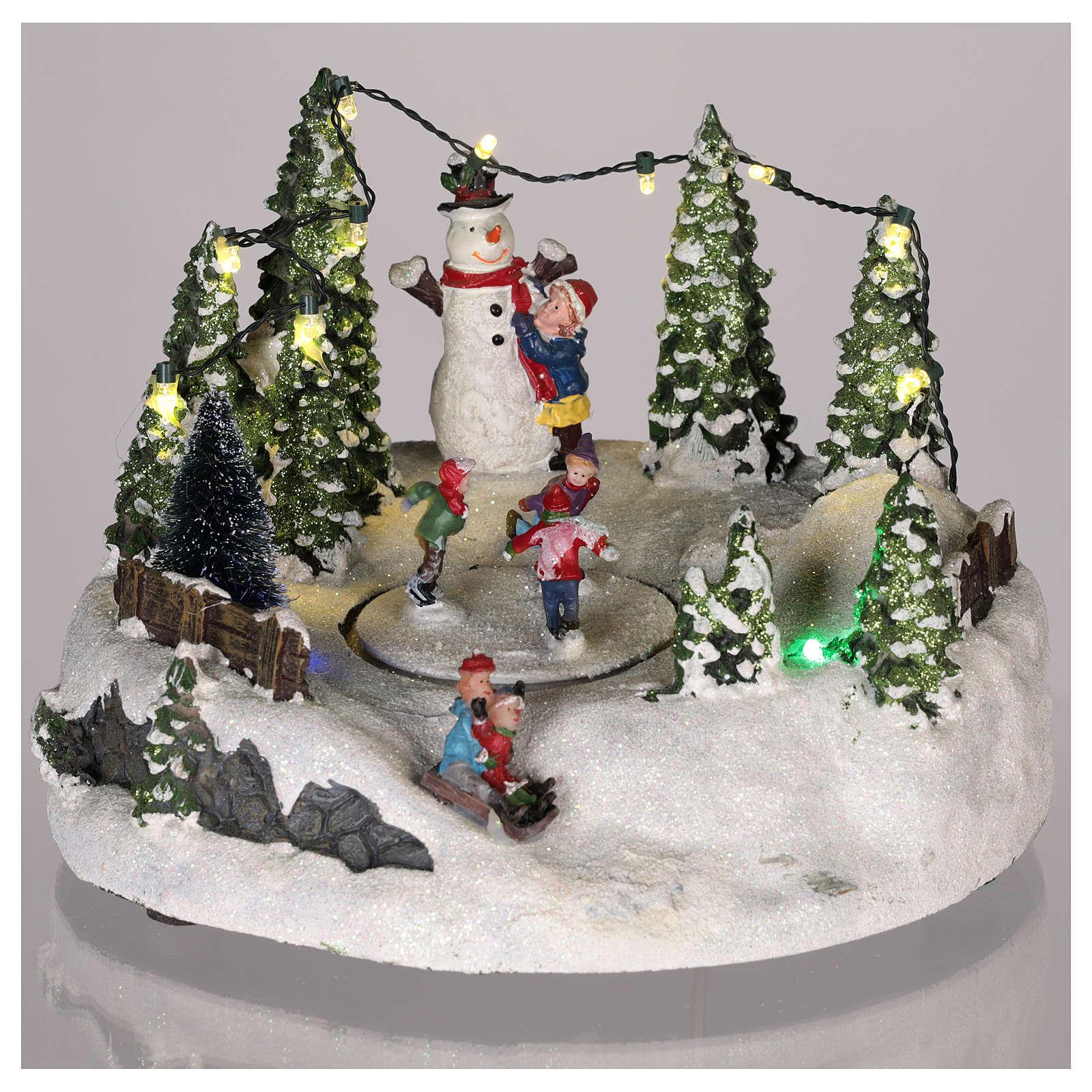 Scena per villaggio Natale: pista pattinaggio e pupazzo di neve 15x20 3