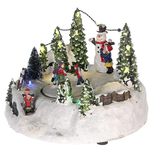 Scene for Christmas village: ice rink and snowman 15x20 cm 3
