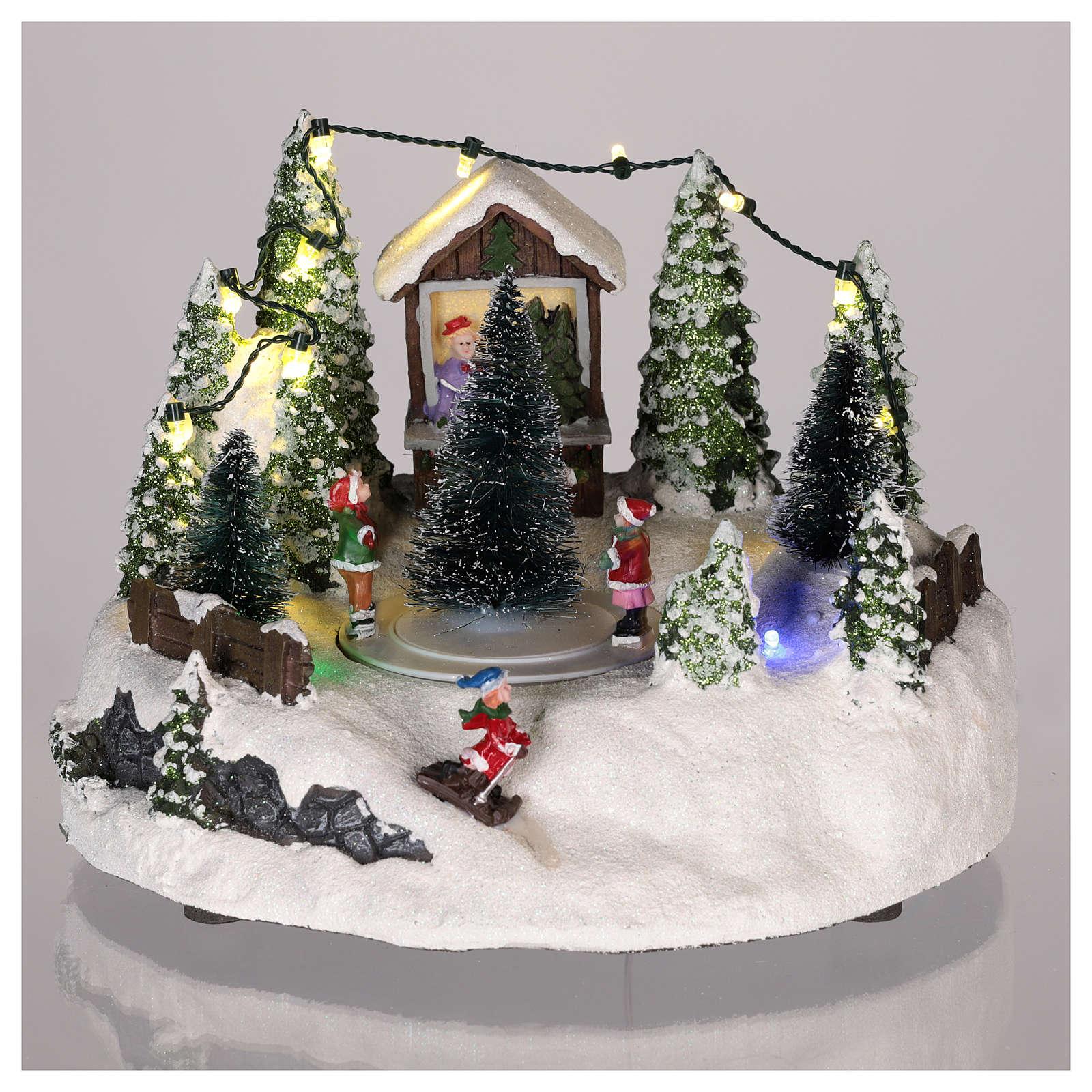 Scène village de Noël : sapin de Noël piste 15x20 cm 3