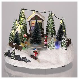 Scène village de Noël : sapin de Noël piste 15x20 cm s2