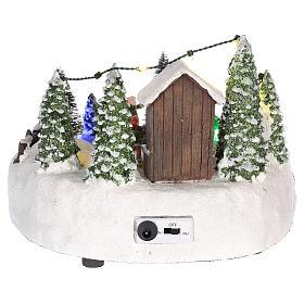 Scène village de Noël : sapin de Noël piste 15x20 cm s5