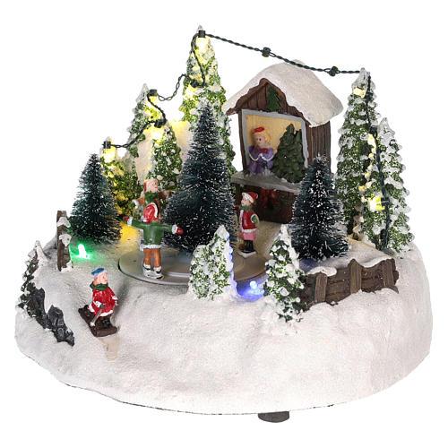 Cena para cenário natalino: árvore de Natal e pista de patinagem 15x20 cm 3