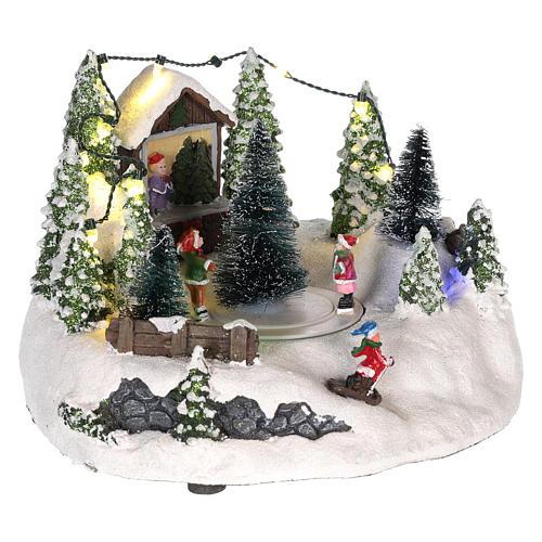 Cena para cenário natalino: árvore de Natal e pista de patinagem 15x20 cm 4