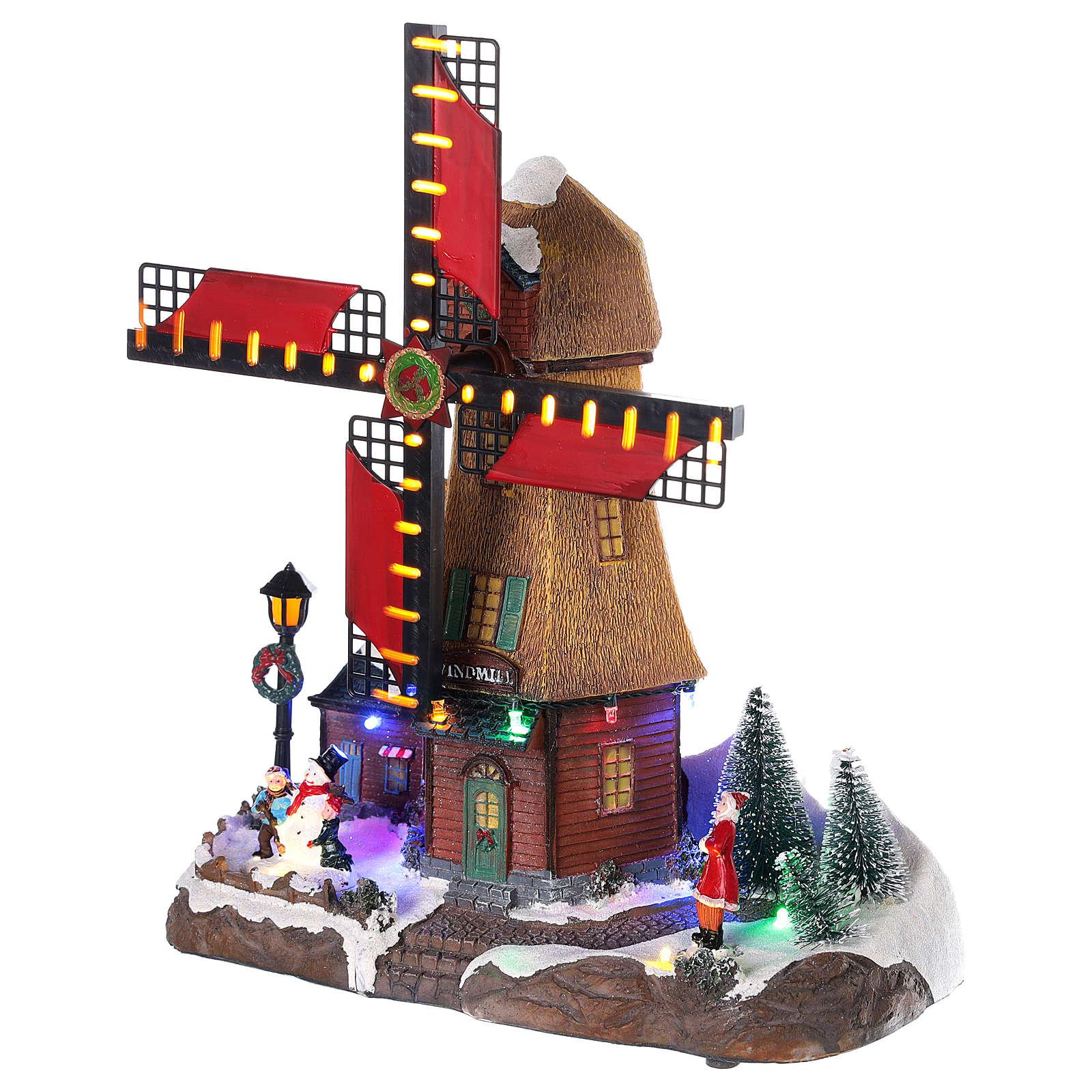 Moulin à vent avec lumières et musique 25x25x10 cm 3