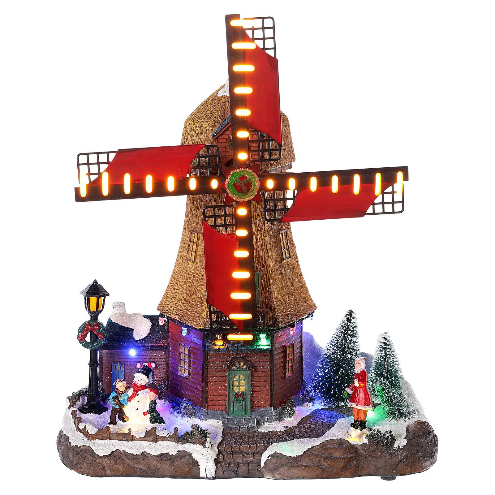 Cenário natalino em miniatura moinho de vento com luzes e música 25x25x10 cm 3