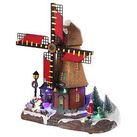Cenário natalino em miniatura moinho de vento com luzes e música 25x25x10 cm s3
