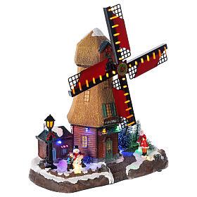Cenário natalino em miniatura moinho de vento com luzes e música 25x25x10 cm s4
