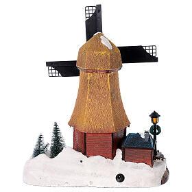 Cenário natalino em miniatura moinho de vento com luzes e música 25x25x10 cm s5