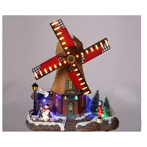 Cenário natalino em miniatura moinho de vento com luzes e música 25x25x10 cm 2