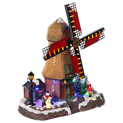 Cenário natalino em miniatura moinho de vento com luzes e música 25x25x10 cm 4