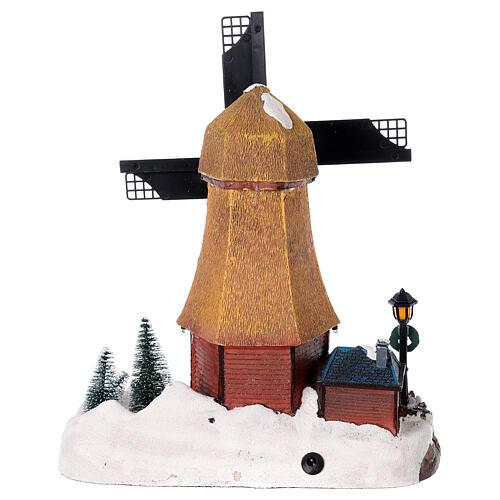 Cenário natalino em miniatura moinho de vento com luzes e música 25x25x10 cm 5