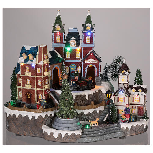 Christmas-themed train station 30x35x25 cm 2